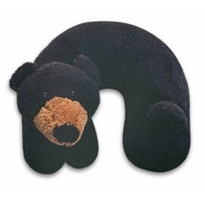 Fuzzy Black Bear Travel Pillow of Happiness